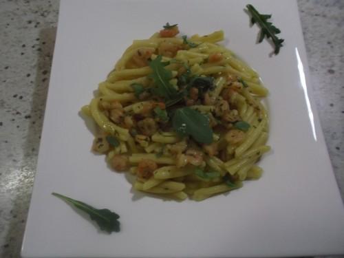 ricette bimby - pasta con gamberetti, rucola e zafferano