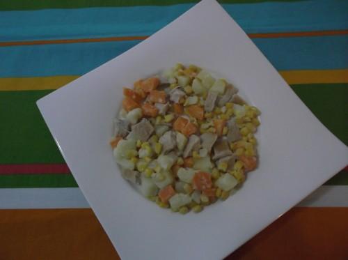 insalata di pollo,carote,patate,mais,maionese,insalata,pollo,petti di pollo