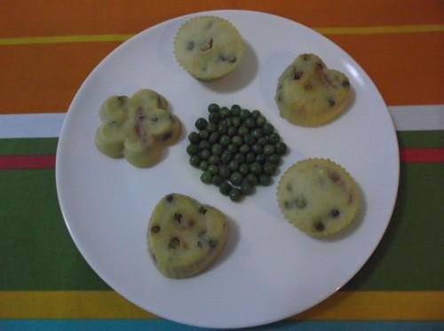 muffin salati con pancetta e piselli, muffin salati, pancetta, piselli, finger food, antipasto, aperitivo,parmigiano