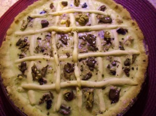 ricette bimby - crostata con crema bimby, noci e cioccolato